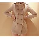 abrigo de lana delgada del ajuste de las mujeres ocasionales de lavanda