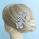 aleación de la vendimia de la hoja de diamantes de imitación peine del pelo nupcial de las mujeres tocados de novia