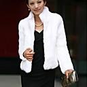 Womens Fashion Collar Pure Color Imitation Fur Warm Coat