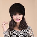 Women's Trendy Real Genuine Mink Fur Kintted Hat Beret Beanie Shapka