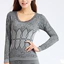 cintura sin costuras cuello redondo conjunto ropa interior de abrigo de las mujeres