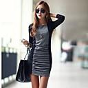 TS Womens Simplicity Fashion Contrast Color Pleated Slim Mini Dress