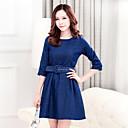 temperamento cuello redondo vestidos de dril de algodón delgado de las mujeres azules