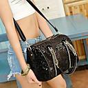 VENCHY Fashion Sequin Single Shoulder Handbag  10083 Black,Cream