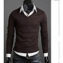 camisa de manga larga de color sólido v cuello de los hombres Urun