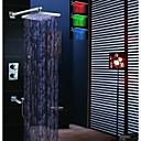 12 pulgadas termostática llevó grifo de la ducha, baño llevó 3 colores cabezal de ducha con ducha de mano de bronce y pico