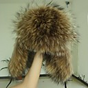 Women's Real Genuine Raccoon Fur Winter Hat Beret Beanie Shapka