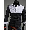 bikelun color de contraste camisa de manga larga sencilla causal (negro)