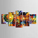 Oil Paintings Set of 5 Modern Abstract Landscape in the Rain Hand-painted Canvas Ready to Hang