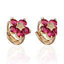 Womens Fashion Flower Design 18K Gold Plating Zircon Earrings