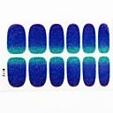 12pcs cubierta de tamaño completo falsa uñas pegatinas Adhesivos consejos envuelve brillo azul estrellado para las decoraciones del arte del clavo