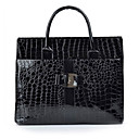 VENCHY European Fashion Patent Leather Tote 10093 Black,Red