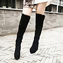 botas largas de tacón espesar plana de las mujeres zicqfurl