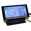 brújula digital del coche, voltaje, termómetro de reloj, higrómetro, previsión del tiempo con luz de fondo azul