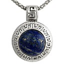 Vintage Womens Round-Shaped Alloy Inlay Lazuli Pendent Necklace Blue (1Pc)