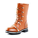 Girls Shoes Fashion Comfort Flat Heel Leather Knee-High Boots with Lace-up Shoes More Colors available