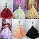 6 piezas de la muñeca de Barbie Princesa vestido encantador del partido de tarde de lujo