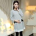 algodón elástico de incernmaternity largo en embarazadas vestido de otoño mujeres