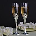 flautas tostado personalizados doble diamante de anillo conjunto de 2