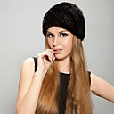 Women's Trendy Real Genuine Mink Fur Knitted Hat Beret Beanie Shapka