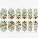 12pcs cubierta de tamaño completo falsa uñas pegatinas Adhesivos consejos envolturas flor de oro brillo de plata para las decoraciones del arte del