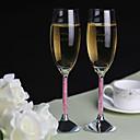 flautas tostado personalizados vástago diamante rosa - juego de 2