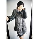 abrigo de manga larga de imitación de piel delgada de la mujer z.y.p