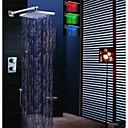 12 pulgadas ducha termostática precipitaciones grifo, la temperatura del LED sensibles 3 colores cabezal de ducha y ducha de mano de bronce