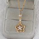 chapado en oro de la flor del diseño 18k de Jing mujeres dian cúbicos circón collar d0071