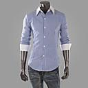 camisa de manga larga de cuello de solapa de la raya del ocio de los hombres de ensueño