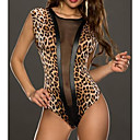 Womens Mesh Cutout Yellow Leopard Teddies
