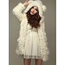 abrigo de lana con capucha linda de las mujeres de lavanda