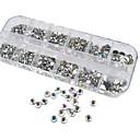 1200pcs ab uñas de diamante de acrílico de color decoraciones de arte 1.5 / 2/3/4/5/6 mm