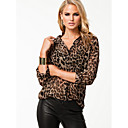 causal de leopardo de gasa todo emparejado-shirt top gran patio de las mujeres ZYP