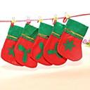 Decoraciones 10pcs Navidad cuelgan adornos pequeñas medias de Navidad no tejidos ofrecen al azar