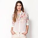 camisa de manga larga de la impresión floral de la gasa de las mujeres de la moda Gemei