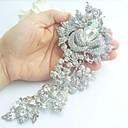aleación de moda de cristal rhinestone del tono plateado de las mujeres aumentó de flores nupcial broche