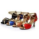 sandalias de salsa latina de la mujer personalizables zapatos de tacón hebilla de satén de baile personalizadas (más colores)