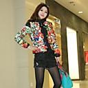 Womens Fashion Flower Pattern Eiderdown Cotton Coat