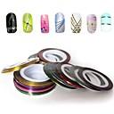 12pcs mezcló los colores rollos de cinta de rayas línea de la decoración del arte del clavo etiqueta