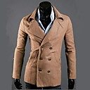 Mens Wide Lapels Fashion Double breasted Long Sleeve Casual Wool Coats