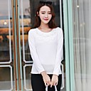 ? ? ™ women's2014 otoño invierno t-shirt de manga larga bordado de encaje de algodón de las mujeres básica camisetas