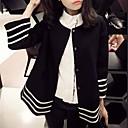 Womens Casual Loose  Stripe Splice  Outerwear