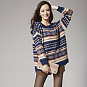 Ricci Womens Stripe Contrast Color Joint Loose Fit Knitting Sweater