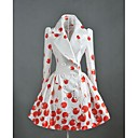 Womens Vintage Cherry Print Double-breasted Trench Coat
