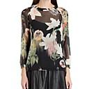Womens Fashion Round Collar Floral Print Shirt