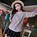 Womens Round Collar Colorful Waist Split Pullover Sweater
