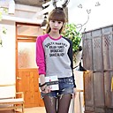 Womens Loose Casual Letter Print Long Sleeve T-Shirt