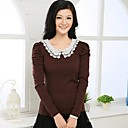 Womens Round Collar Lace T-Shirt(More Colors)