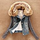cuello de piel temperamento delgado de manga larga de las mujeres Jamesina espesar causual abrigos de mezclilla